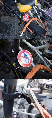 トラフィックンを自作で自転車の反射材として利用